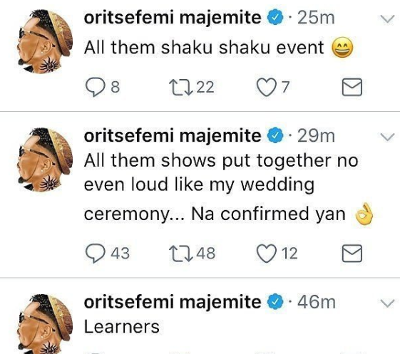 Singer, Oritsefemi says all the music events happening lately are not even as loud as his wedding