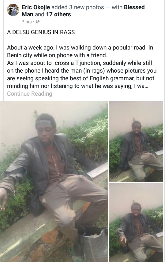 Photos: Man meets his former school mate at Delta State University, who is now mentally ill and homeless