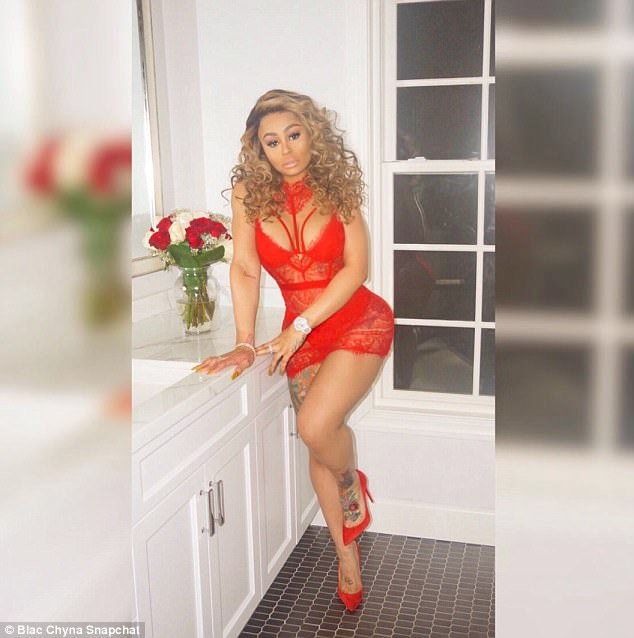 Photos: Blac Chyna flashes her cleavage and hourglass figure in red see-through lingerie