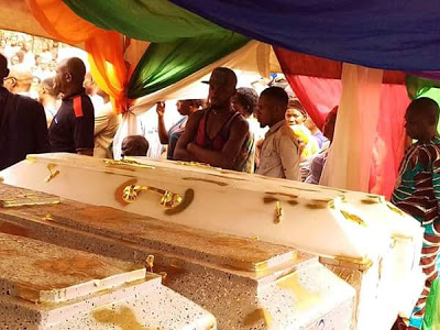 Heartbreaking photos from the funeral of the couple and their 3 children poisoned by a relative in Imo State