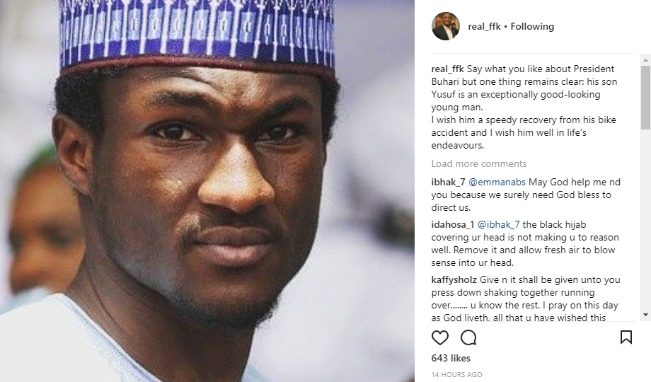 FFK wishes Yusuf Buhari speedy recovery after his bike accident