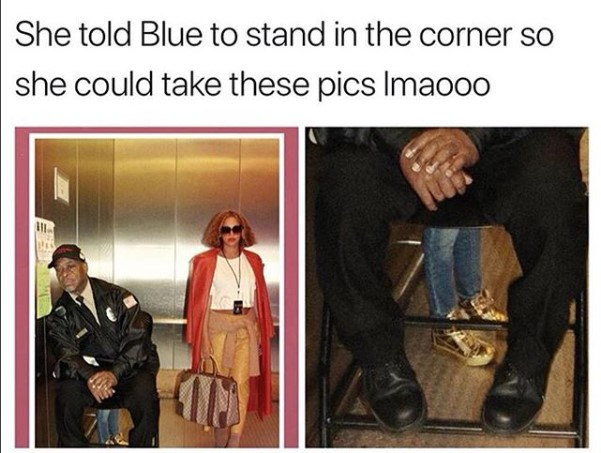 Lol. Beyonce puts her daughter Blue Ivy in the corner so she could take a personal photo
