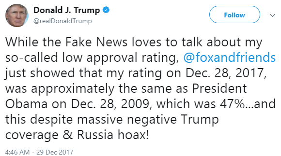 Trump responds to Obama beating him to the most admired man; claims their approval rating was almost the same