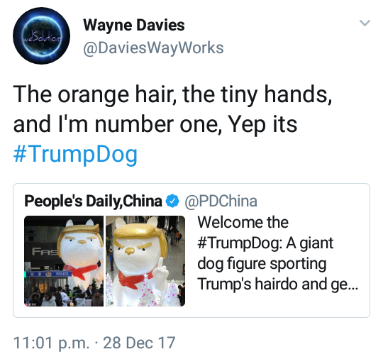Lol. Chinese mall unveils Trump Dog statue to celebrate year of the dog