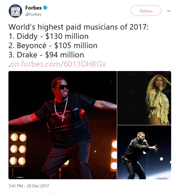 Forbes names Diddy as the top-earning musician of 2017