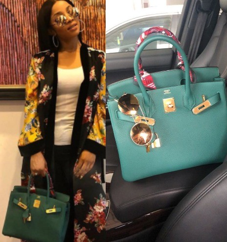 Toke Makinwa and her green Hermes Birkin bag step out in style