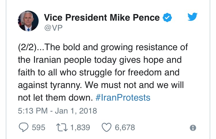 U.S VP, Mike Pence, in tweets, goes hard like never before, threatens Iran