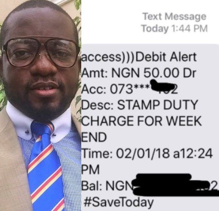 Clothier, Uche Nnaji left puzzled after his bank charged him N52 for what they term