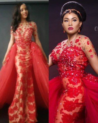 It appears a model already wore the controversial wedding dress before designer, Maryam Elisha gave it to Mercy Aigbe