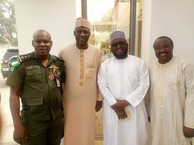 Spotted! Former Super Eagles players, Tijjani Babangida and Garba Lawal at Government House, Bauchi
