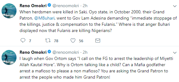 Reno Omokri mocks Benue state governor for calling on President Buhari to arrest the leadership of Miyetti Allah Kautal Hore