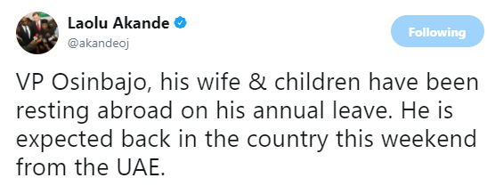VP Yemi Osinbajo, his wife and children holiday in Dubai