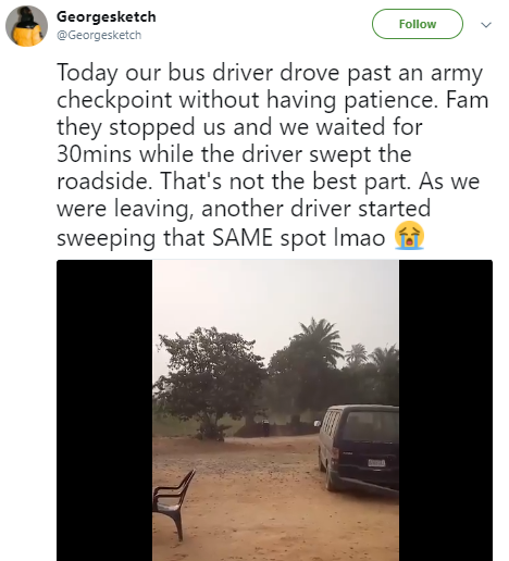 Nigerian soldiers force an impatient driver to sweep the roadside beside their checkpoint for 30mins (video)