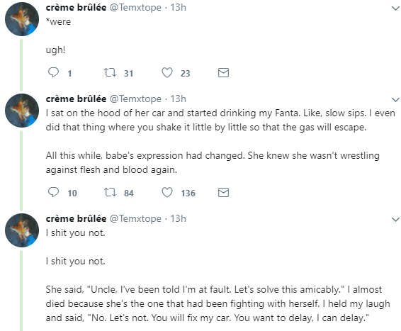 Twitter stories: Drama as a Lagos man and woman slug it out after one bashed the other ones car