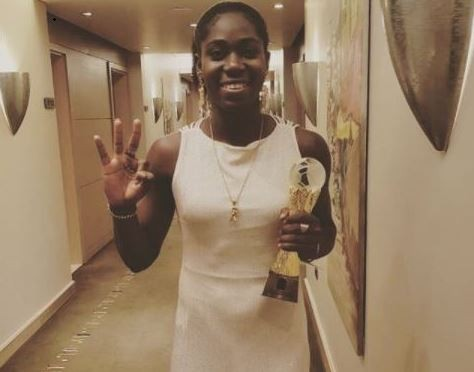 Asisat Oshoala shows off her third female African Player of the Year award (Photos)