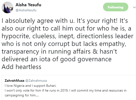 Aisha Yesufu slams President Buhari, describes him as a