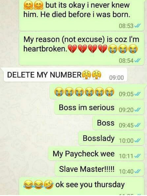 Check out this viral conversation between a lady and her boss