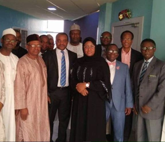 Photo: Aisha Buhari thanks Nigerians and the team of doctors keeping her son stable after his motorbike accident