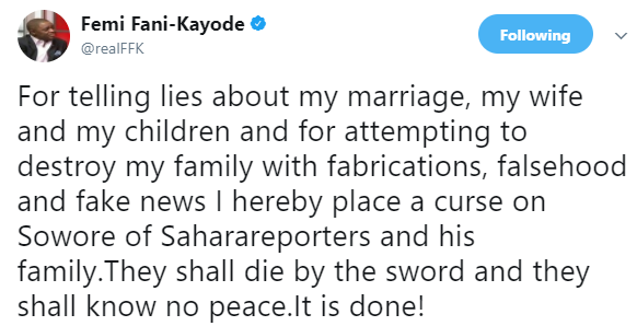 FFK places a curse on Sowore of Sahara Reporters and his family over the recent report about his marriage to Precious