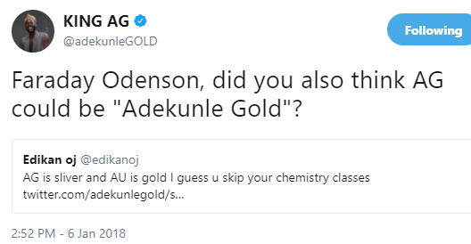 Lol! Twitter user threatens to sue Adekunle Gold for using the wrong chemical symbol for Gold and Silver
