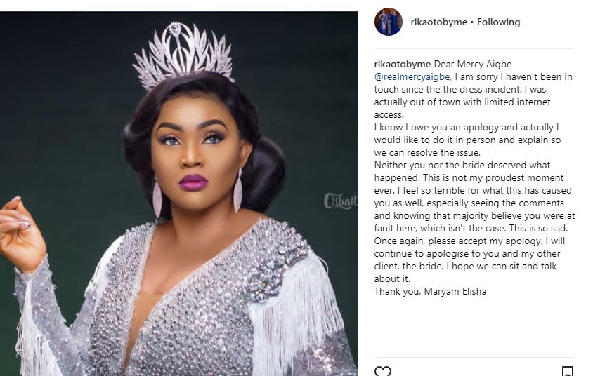 Designer, Maryam Elisha of RikatobyMe, tenders public apology to actress Mercy Aigbe and aggrieved bride over the controversial wedding reception dress