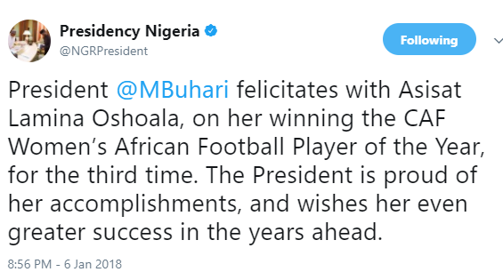 President Buhari congratulates Asisat Oshoala on wining the Women?s African Football Player of the Year