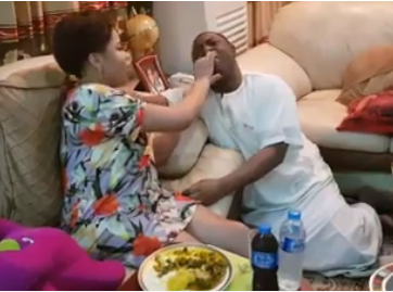 FFK shares video of his wife, Precious, feeding him Oha soup at their home