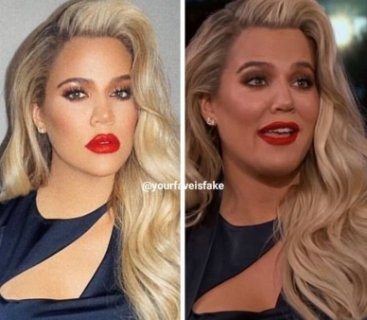 Khloe Kardashian on IG (with filters) vs Khloe Kardashian in real life (photo)