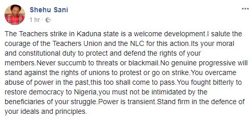 Competency test:  Senator Shehu Sani commends Kaduna state teachers for embarking on an indefinite strike