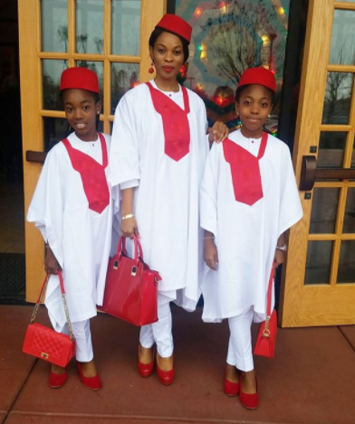 Georgina Onuoha & her daughters look amazing as they rock matching agbadas (photos)