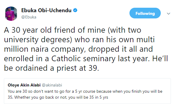 Ebuka Obi-Uchendu reveals how his 30 year old friend who owns a multi-million naira company left it to join the catholic seminary