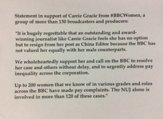 Carrie Gracie quits as BBC China editor over gender salary gap