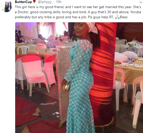 Another twitter user is in search a husband for her friend