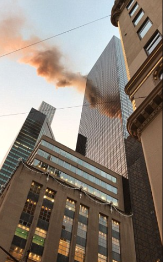 Breaking: Trump Tower on fire after electrical box overheats on the roof of the building, firefighters trying to put out the blaze in midtown Manhattan