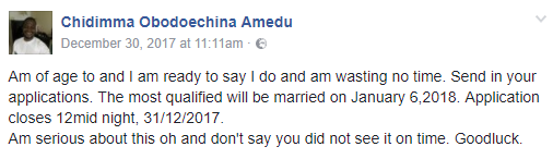 Man weds just  7 days after announcing he is in search of a wife