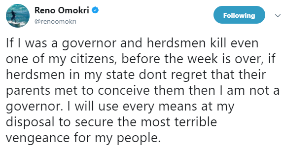 Reno Omokri reacts to the killing of citizens by herdsmen