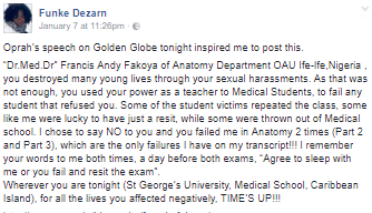 Oprah?s speech at Golden Globe inspires a Nigerian doctor to call out her lecturer who allegedly sexually harassed her