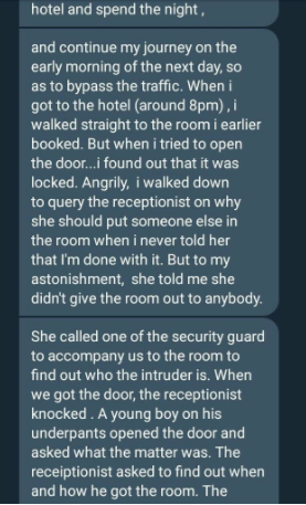Trending story of a man who caught his fiancee cheating on him in a hotel room he paid for in Onitsha