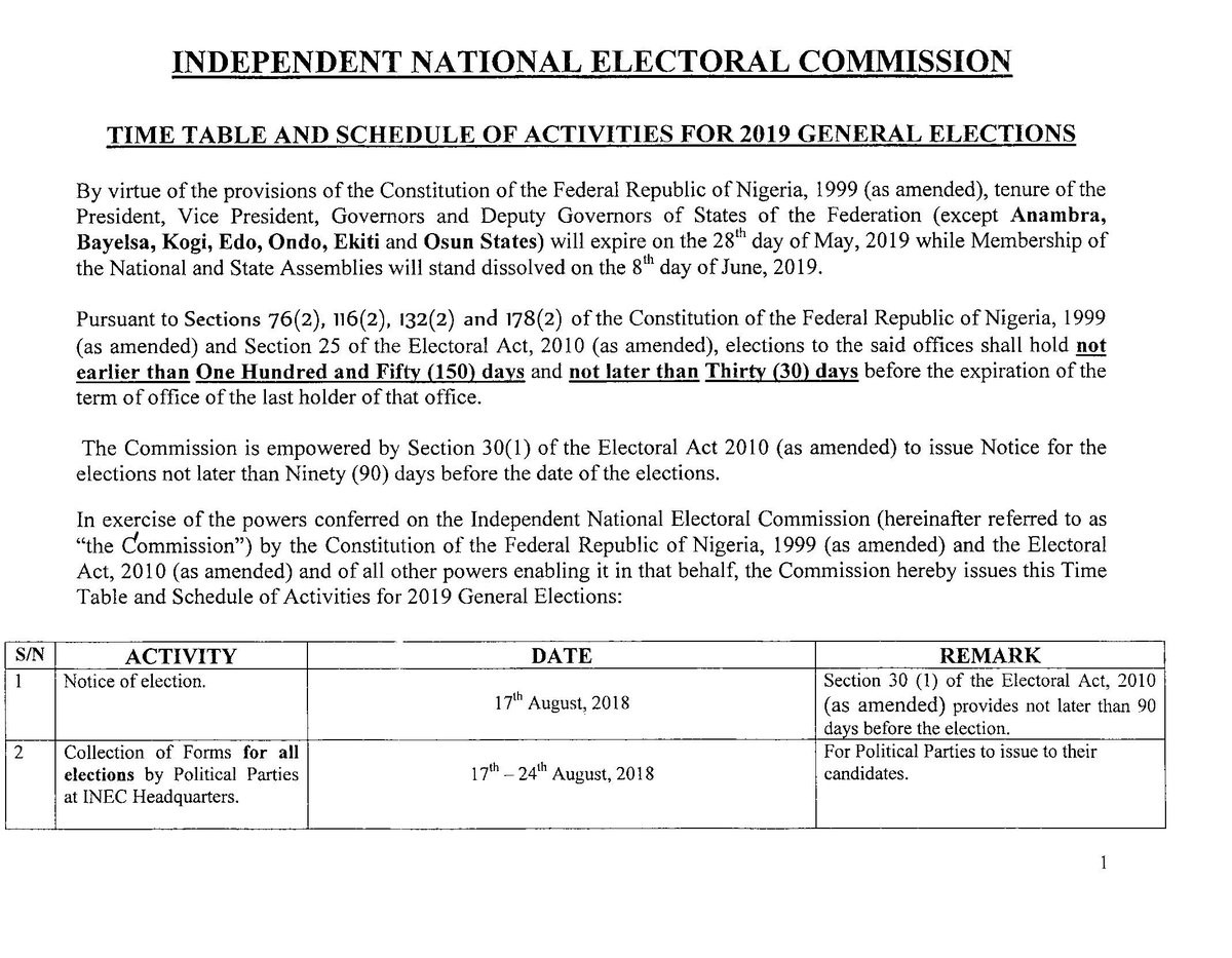 Breaking: INEC releases 2019 general elections timetable, presidential election to hold on Feb. 16th 2019