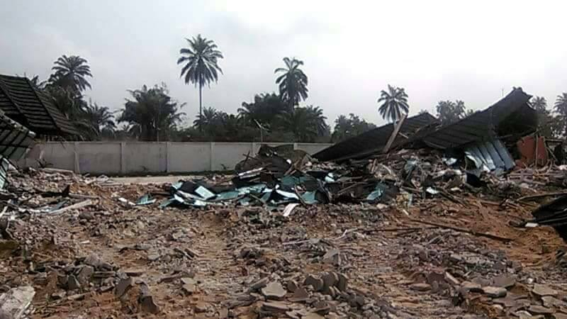 Rivers state government demolish mansion owned by notorious kidnaper and murderer, Don Wanny, who was killed recently