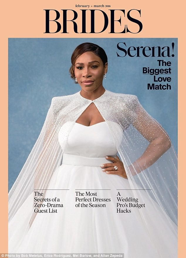 Serena William models her wedding gown for February/March cover of ...