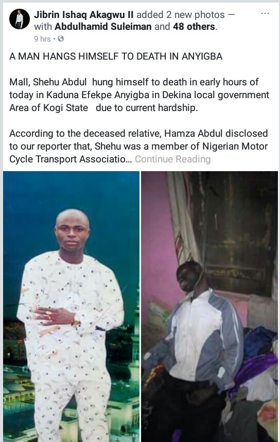Photos: Man commits suicide in Kogi State due to hardship