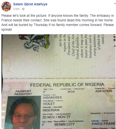 Nigerian woman reportedly found dead at her home in France