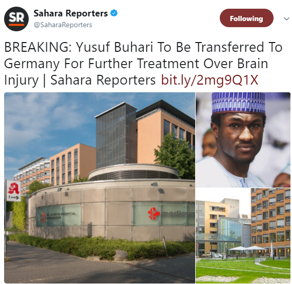 Yusuf Buhari to be transferred to Germany for further treatment