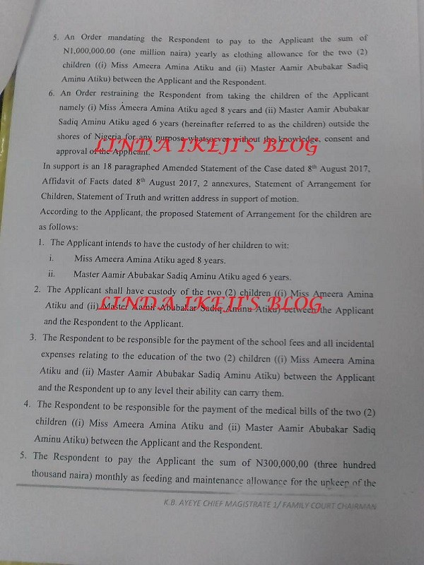 Exclusive: See the court documents showing full custody was granted to Atiku