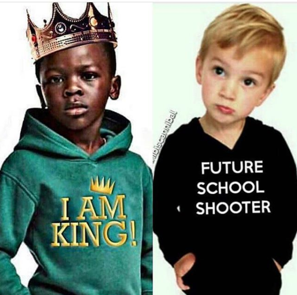 Black artiste retaliates by sharing photo of White boy with racist phrase on his hoodie in response to the controversial H&M racist advert