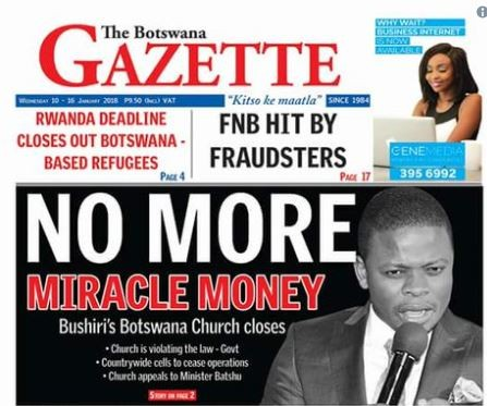 "Botswana shuts the?church of controversial pastor,?Shepherd Bushiri over?""miracle money"""