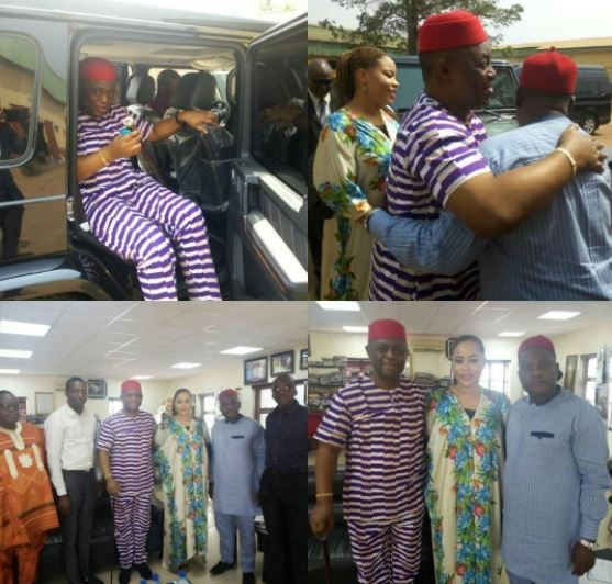 Fani Kayode and his wife arrive Enugu State to pay a visit to?Innocent Chukwuma of Innoson Motors