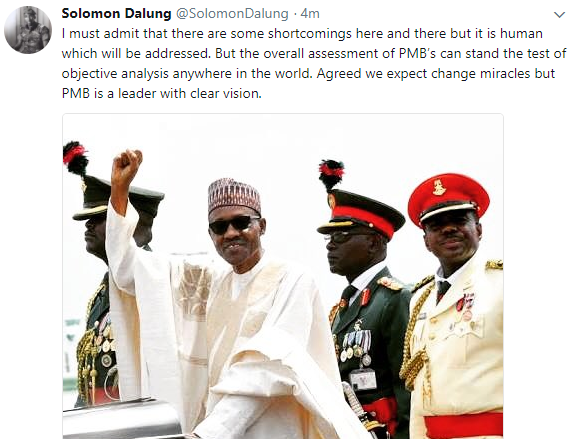 ''If Buhari's 3 years in office is defined as failure, then PDP's 16 years in office can be defined as locust era'' Solomon Dalung