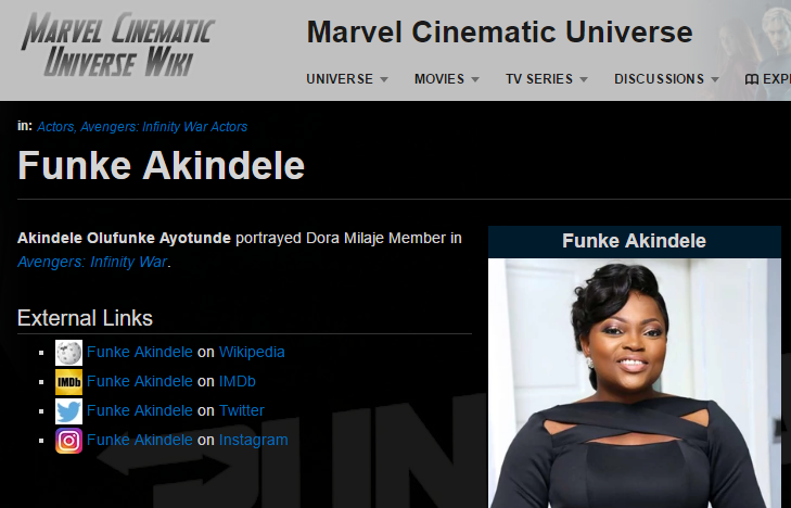 Funke Akindele-Bello to feature in upcoming Hollywood superhero film ?Avengers: Infinity War?